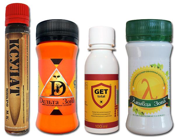 Exemples de médicaments modernes pour punaises de lit - Xsulat Micro, Get, Zone Delta, Zone Lambda.