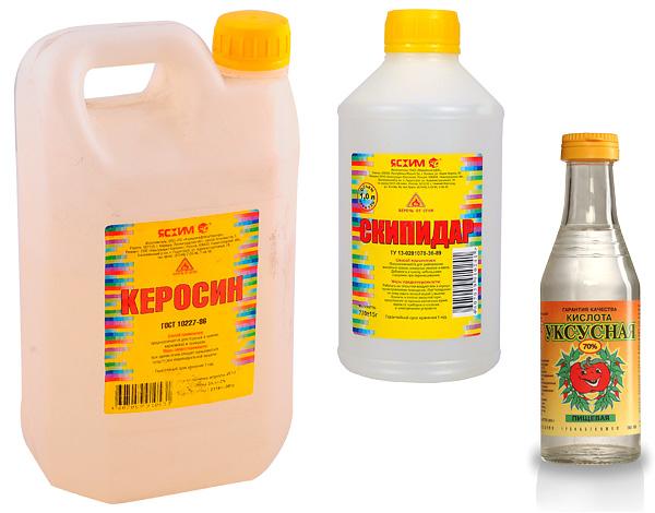 Le kérosène, la térébenthine, l'acide acétique sont des remèdes populaires contre les punaises de lit.