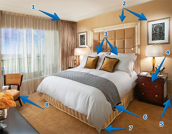 La photo montre l'emplacement de l'emplacement possible des nids d'insectes dans l'appartement, qui doivent être traités en premier.