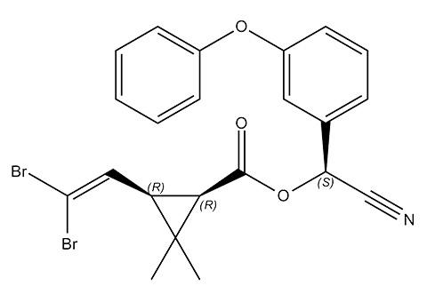 Insecticide deltaméthrine, structure chimique