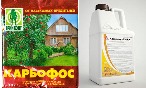 Karbofos est vendu sous forme de poudre ou liquide.