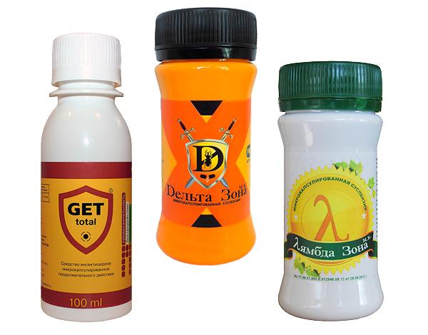 De nombreux concentrés d'insecticides sont adaptés à un usage domestique et sont vendus en petits emballages.