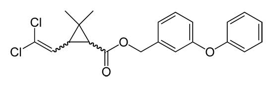 La formule structurelle de la perméthrine (insecticide efficace, substance active des bombes à fumée Samuro).