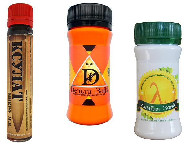 Exemples d'insectifuges microencapsulés: Xsulat Micro, Delta Zone et Lambda Zone.