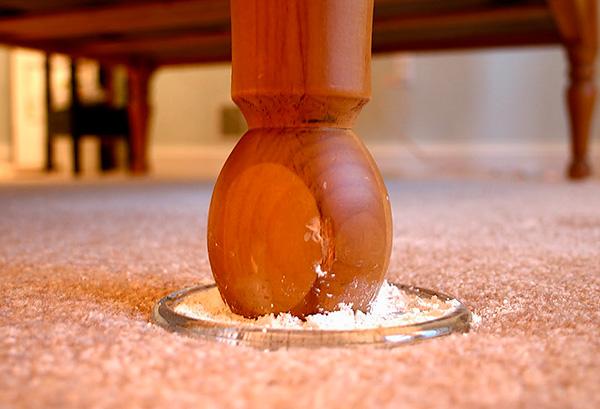 Un exemple d'utilisation de poudre insecticide pour la prévention de la reproduction des punaises dans l'appartement.
