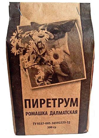 Pyrèthre (poudre de fleurs de camomille de Dalmatie).