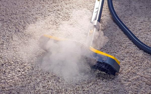 Nettoyage de tapis avec nettoyeur à vapeur.